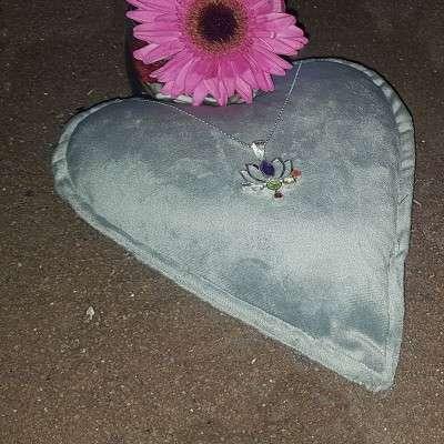 Pendentif des 7 chakras Fleur de Lotus en argent - 2