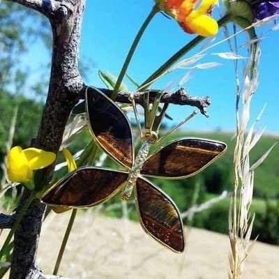 Pendentif papillon et œil de Tigre - 3