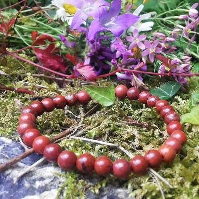 Bracelet 6 mm Jaspe rouge - 2