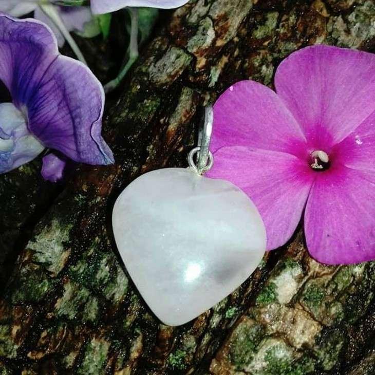 Pendentif Cœur Quartz Rose - 2