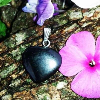 Pendentif Cœur Obsidienne - 2