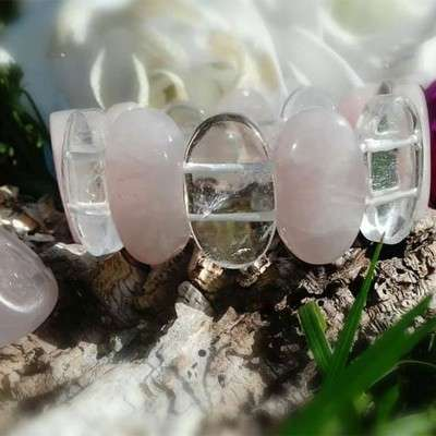 Bracelet Ovale En Quartz Rose - 2