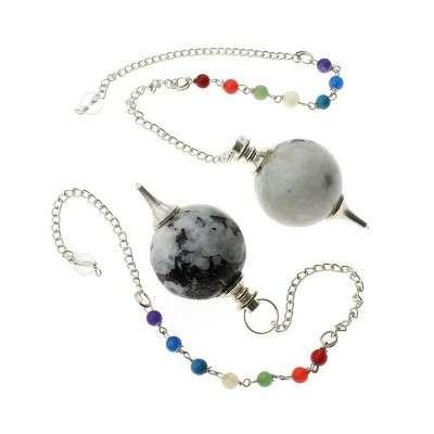 Pendule sphérique en Pierre De Lune avec chaîne chakras - 2