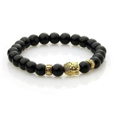 Bracelet Bouddhiste Doré 8mm Agate noire-2