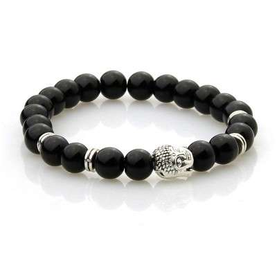 Bracelet Bouddhiste Argenté 8mm Agate noire-2