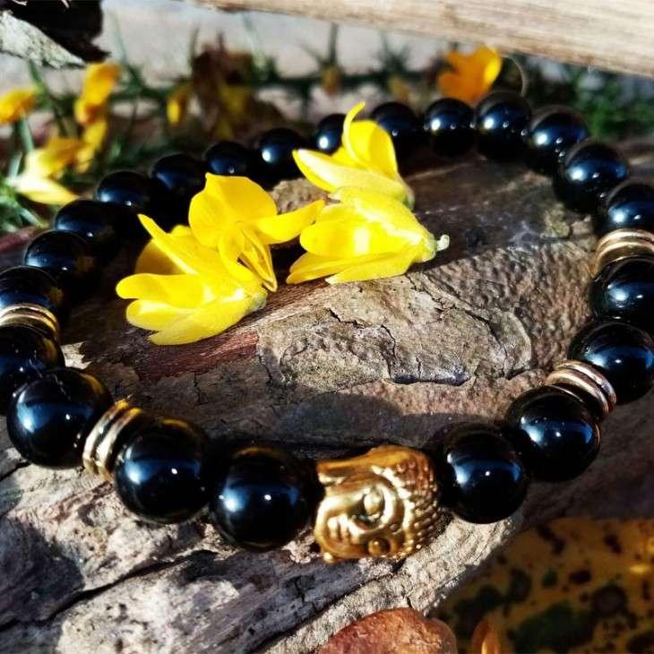 Bracelet Bouddhiste Doré 8mm Agate noire-1