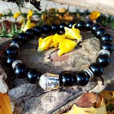 Bracelet Bouddhiste Argenté 8mm Agate noire-1