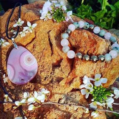 Pack Pierres rose Bracelet + pendentif